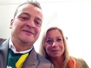 Cabaretier Patrick Spekman en Jeanine Hennis (Minister van Defensie) selfie